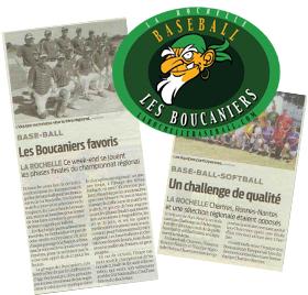 Historique article de journaux club de baseball Boucaniers